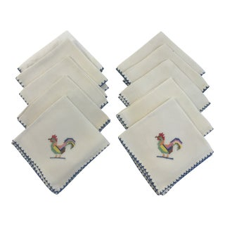1990s Country Hand Stitched Rooster Cocktail Napkins - Set of 11 For Sale
