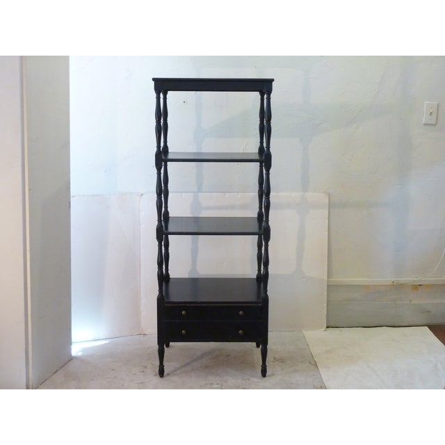 """Early 20th Century etagere, painted black, the paint nicely aged, sturdy, single drawer at the bottom. 11.5"""" between top..."""