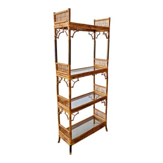 Vintage English Regency Style Bamboo Display Book Shelf Etagere For Sale