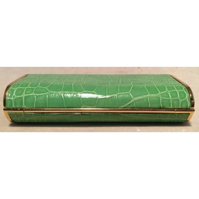 Contemporary Judith Leiber Vintage Mini Green Alligator Clutch Minaudiere For Sale - Image 3 of 9