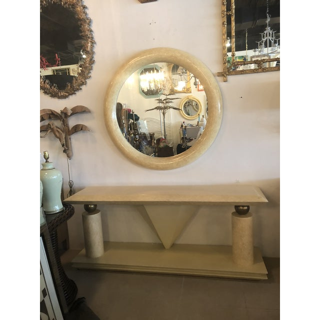Art Deco Vintage Bone Brass Console Table and Wall Mirror Set For Sale - Image 3 of 13