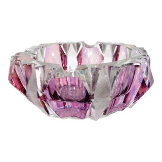 Late 20th Century Art Deco Faceted Geometric Berry Purple Crystal Glass Art Ashtray / Catchall Great Decor & Storage For Sale