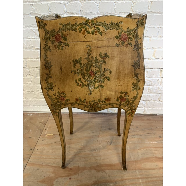 Green Early 20th-Century French Inspired Hand Painted Side Cabinet + Marble Top For Sale - Image 8 of 12