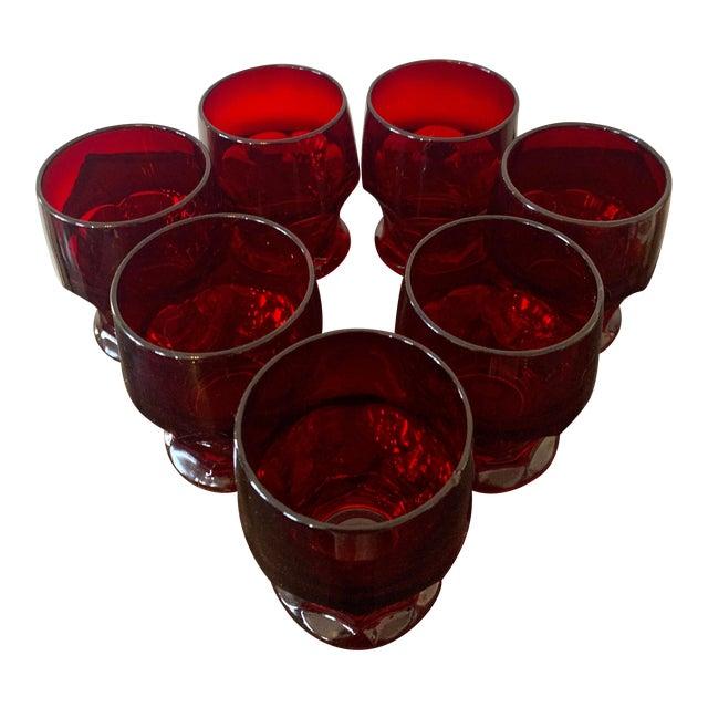 Vintage Viking Georgian Ruby Red Whiskey Glasses- Set of 7 For Sale