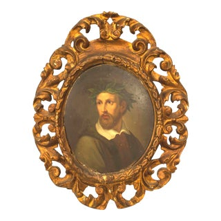 Italian Renaissance Style 19th Century Portrait on a Man in a Gilt Wood Frame For Sale