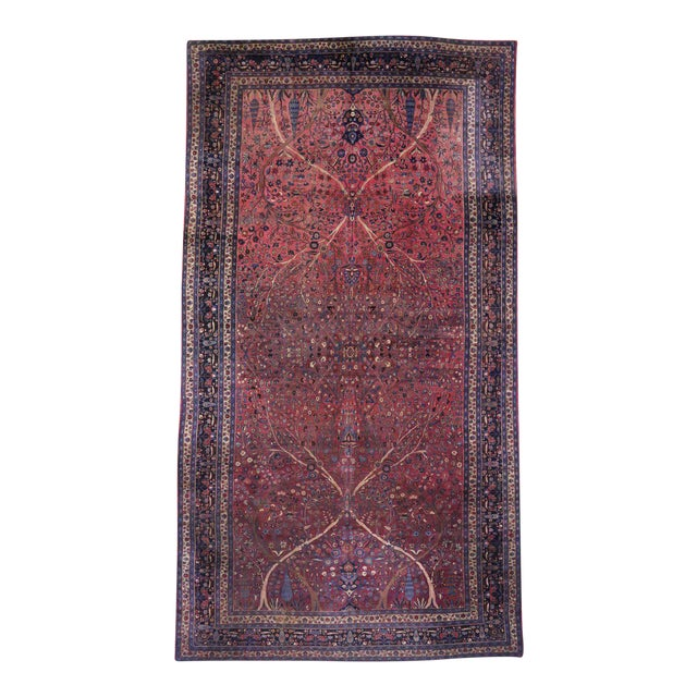 Captivating Antique Persian Mashhad Gallery Rug in Jewel Tone Colors For Sale