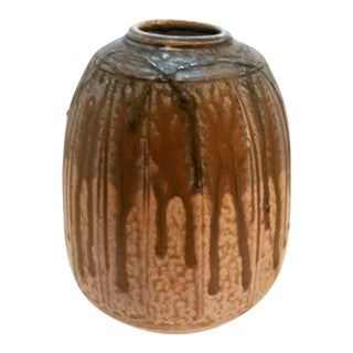 Mid-Century Studio Pottery Drip Glaze Vase - Signed For Sale