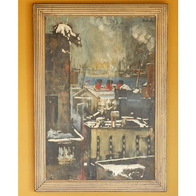 Unique oil on canvas painting depicting a polar bear atop a building overlooking a big city shipyard and harbor, circa...