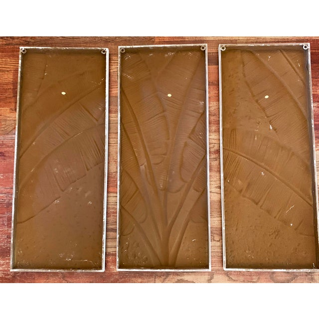 Pressed Tin Triptych of Painted Banana Leaves by Kalalou - 3 Pieces For Sale - Image 12 of 13