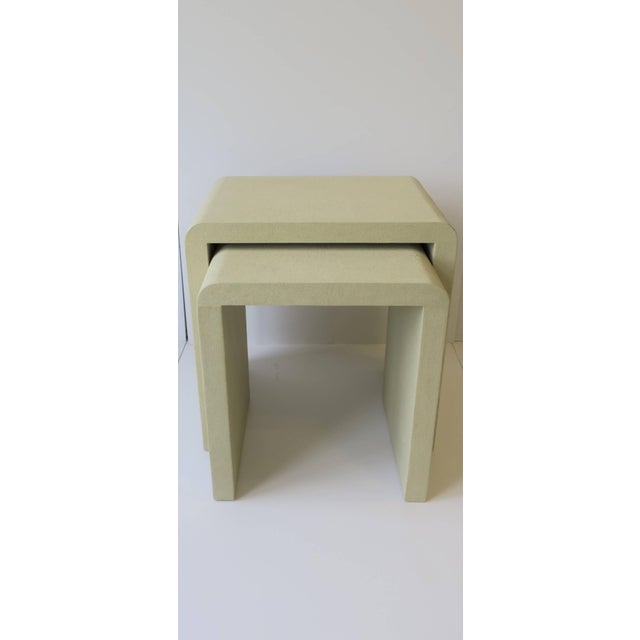 Shagreen-Esque Nesting Tables With Waterfall Edge For Sale - Image 4 of 12