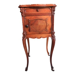 French Louis XV Marble Top Nightstand For Sale