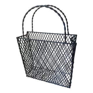 Vintage Iron Mesh Shopping Tote Magazine Rack With Twisted Double Handles For Sale
