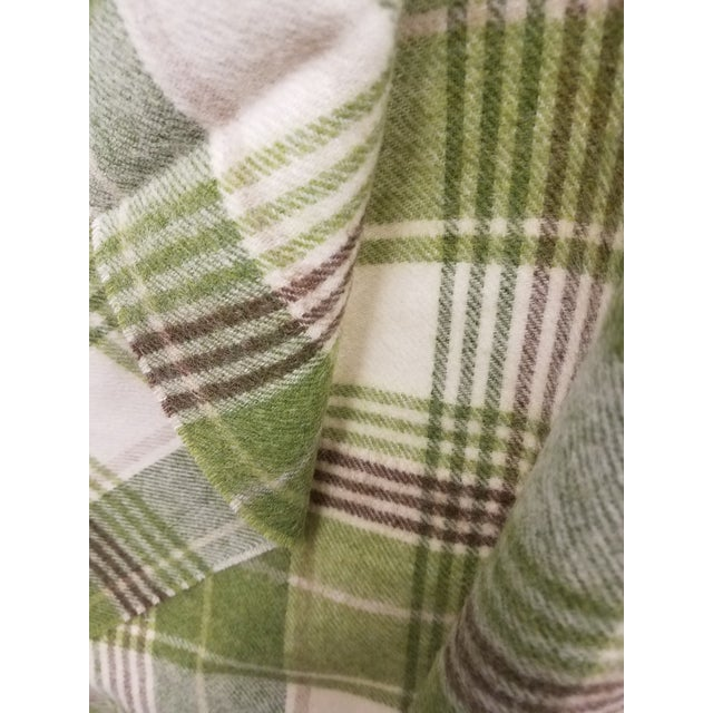 Merino Wool Throw Greens Brown and White Plaid - Made in England For Sale - Image 9 of 11