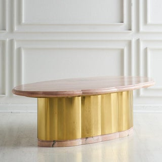 Pink Marble and Brass Coffee Table With Scalloped Base Preview