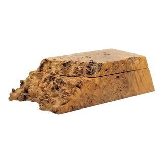 Michael Elkan Studio Maple Burl Wood Jewelry Keepsake Box - Signed - Mid Century Modern Organic Modern Boho Chic For Sale