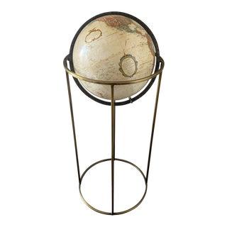 "Mid Century Replogle 12"" Brass Floor Globe For Sale"