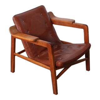 Tove & Edvard Kindt-Larsen 'Fireplace' Lounge Chair in Original Leather For Sale