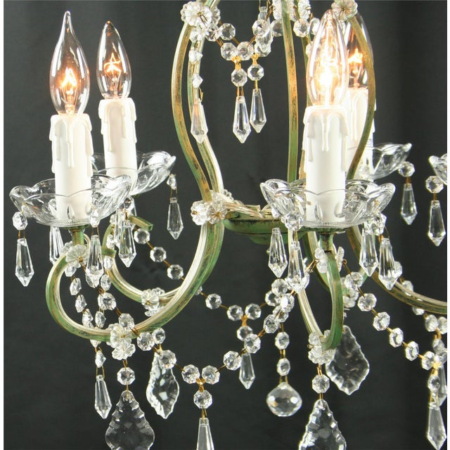 Farmhouse Rococo 5-Arm Glass Chandelier For Sale - Image 3 of 8
