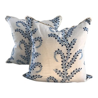 Baris Chambray Embroidered Pillows - A Pair