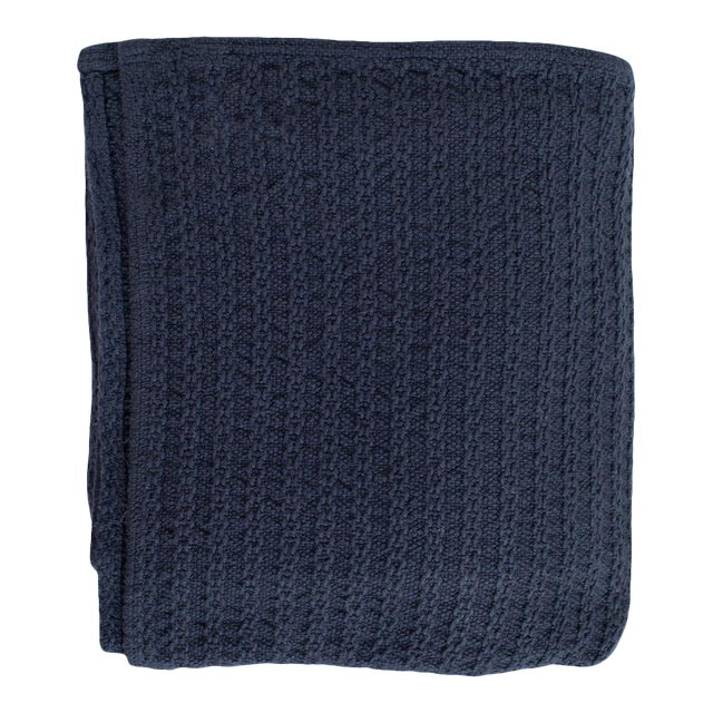Cableknit Blanket in Indigo, Full/Queen For Sale
