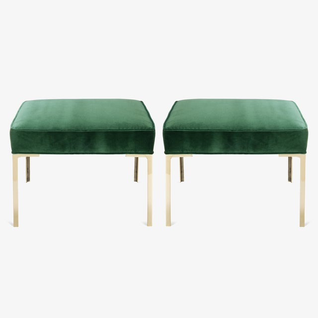 Green Astor Square Brass Ottomans in Emerald Velvet by Montage, Pair For Sale - Image 8 of 8