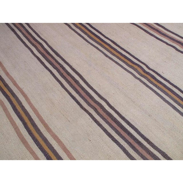 Traditional Banded Kilim Wide Runner For Sale - Image 3 of 5