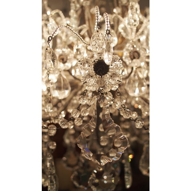 Early 20th Century Eight Light Crystal Chandelier with Flowers on Beaded Stems For Sale - Image 5 of 10