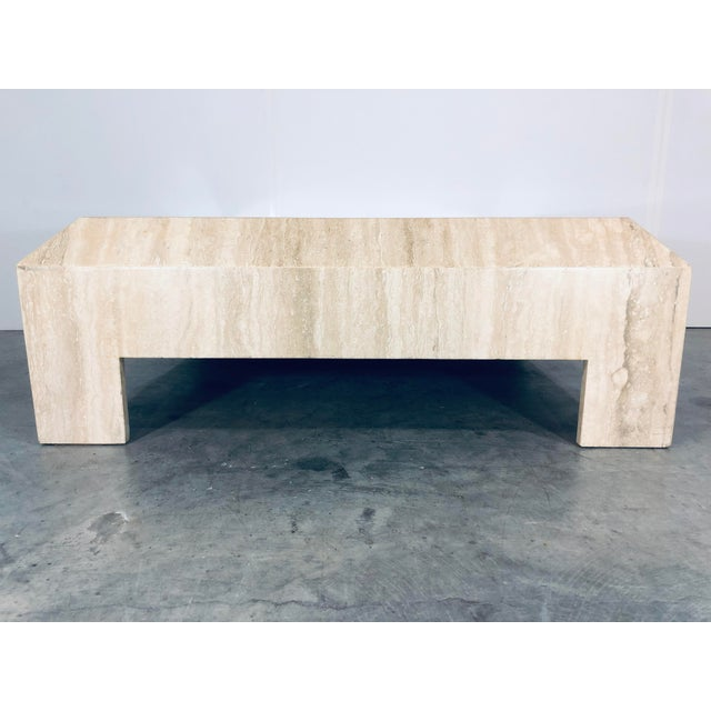 Italian polished Travertine marble coffee or cocktail table from the 1970s.