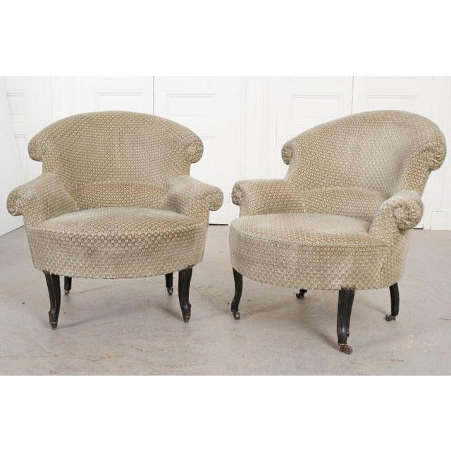Gold Pair of 19th Century English Upholstered Tub Chairs For Sale - Image 8 of 13