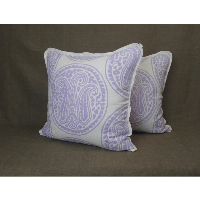 2020s Raoul Textiles Throw Pillows in Mira Linen Print - a Pair For Sale - Image 5 of 5