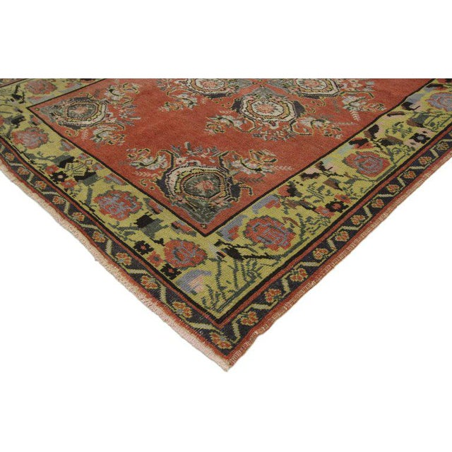 52392 vintage Turkish Oushak wide hallway runner with Art Deco Expressionist style . This hand knotted wool distressed...