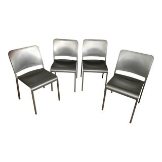 Design Within Reach 20-06 Silver Stacking Dining Chairs - Set of 4 For Sale