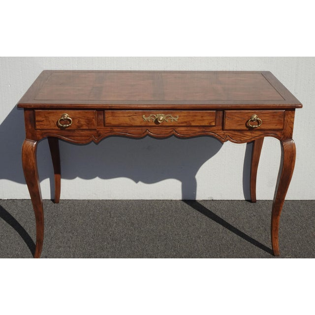 Vintage French Country Henredon Oak Writing Desk W Three Drawers For Sale - Image 13 of 13