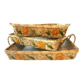 1960s Vintage Rattan Floral Nesting Baskets - Set of 3 For Sale