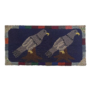 "Antique Unusual Pigeon Decoration Hooked Rug - 1'7"" x 3'3"""