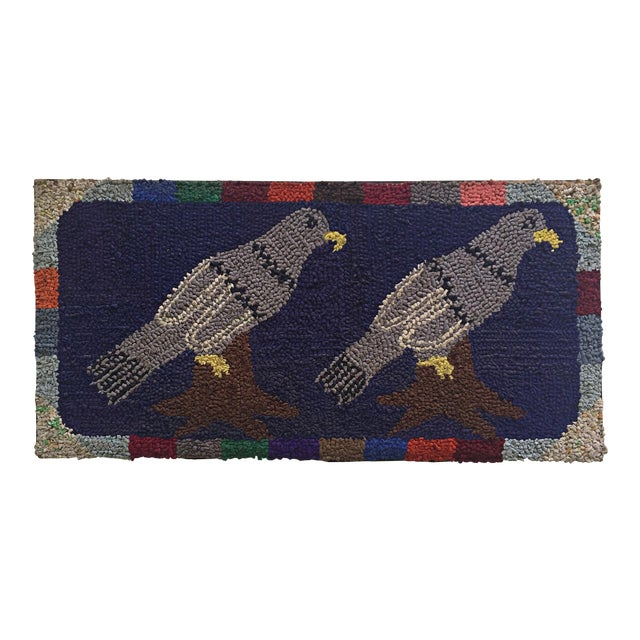 """Antique Unusual Pigeon Decoration Hooked Rug - 1'7"""" x 3'3"""" For Sale"""