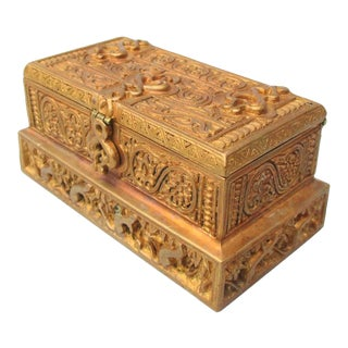 Tiffany Gilt Bronze Stamp Box Venetian Pattern For Sale