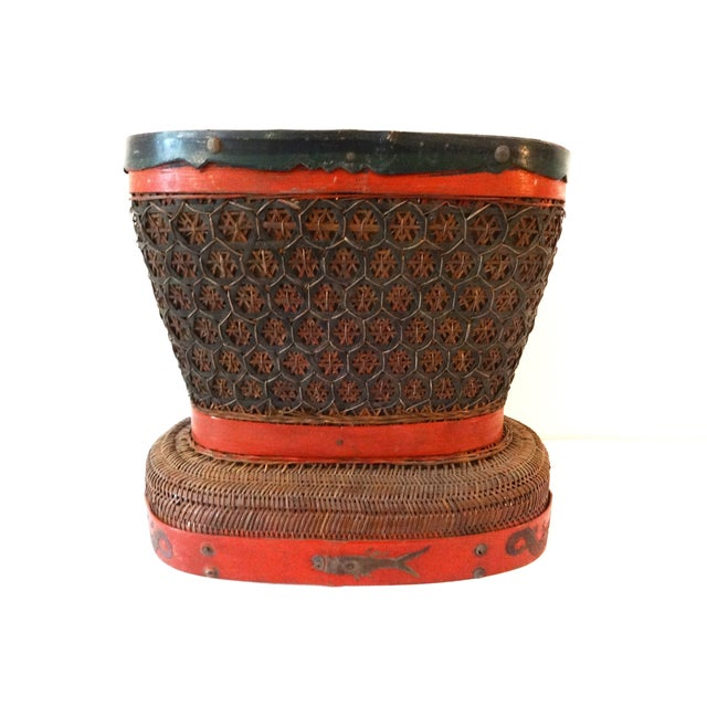 Antique Red & Brown Chinese Wedding Basket For Sale