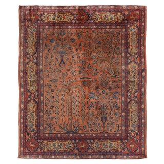 Late19th Century Antique Kashan Beige and Red Wool Persian Rug- 4′ × 4′1″ For Sale