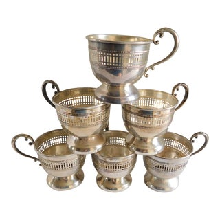 Sterling Vintage Demi-Tasse Cup Holders - Set of Six For Sale