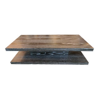 Cerused Finish Cantilever Coffee Table For Sale