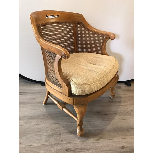 Brown Mid-Century Modern French Barrel Back Caned Armchair For Sale - Image 8 of 8
