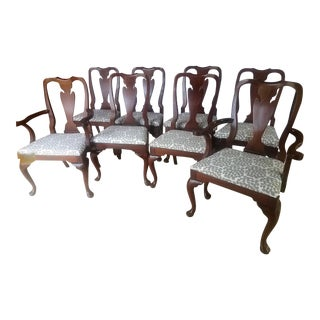 1980s Vintage Queen Anne Style Mahogany Chairs- Set of 8 For Sale