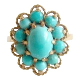 1960's 14k Gold + Persian Turquoise Flower Ring For Sale