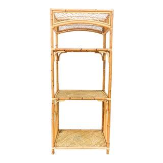 Vintage Bamboo & Woven Rattan Three Shelf Etagere