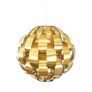 Mid-Century Modern Gold Lightolier Brass Ribbon Globe Pendant Light For Sale