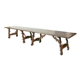 19th Century Italian Baroque Style Walnut Trestle Dining Table For Sale