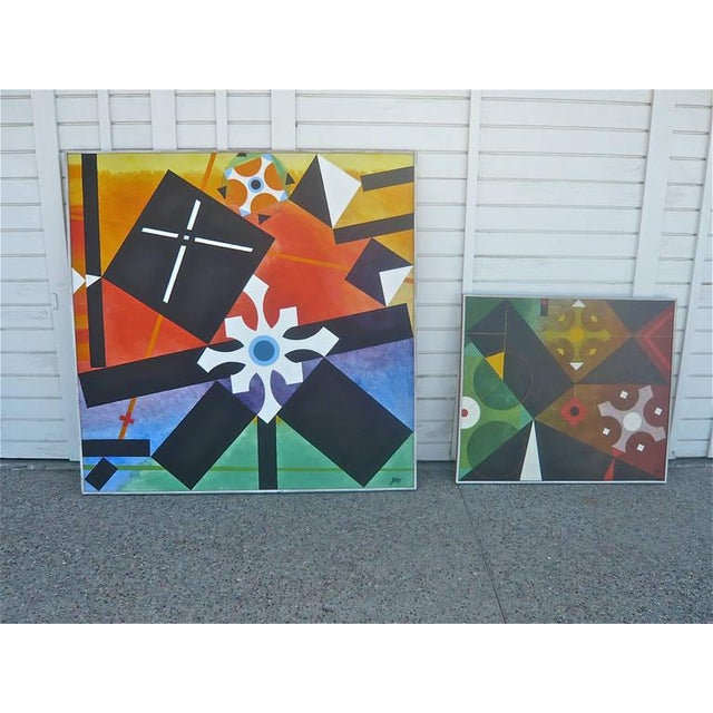 Canvas Geometric Abstract Painting by James McCray, 1966 For Sale - Image 7 of 10