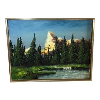 1970s Vintage Oil on Canvas Landscape Painting For Sale
