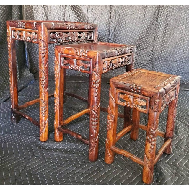 Antique Chinese Carved Nesting Tables - Set of 3 For Sale In Dallas - Image 6 of 11